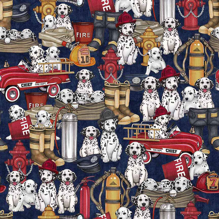 5 Alarm Dalmations Amp Firefighter Equipment Navy By Dan Morris For Quilting Treasures