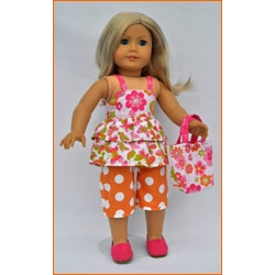 Let's Play Dolls Summer Fun Top and Capri Pants Panel Pink Orange