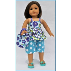 Let's Play Dolls Summer Fun Top and Capri Pants Panel Blue Purple