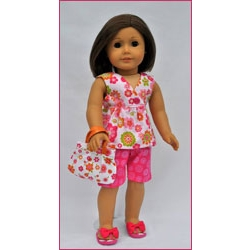 Let's Play Dolls Summer Fun Top and Shorts Panel Pink Orange