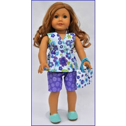 Let's Play Dolls Summer Fun Top and Shorts Panel Blue Purple