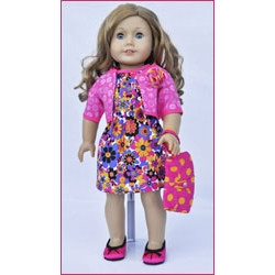 Let's Play Dolls Dress Panel Pink
