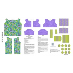 Let's Play Dolls Dress Panel Green Purple