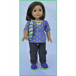 Let's Play Dolls Everyday Panel Green Purple