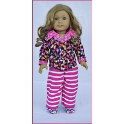 Let's Play Dolls Sleep Tight Pajama Set Panel Pink