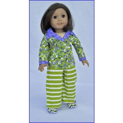 Let's Play Dolls Sleep Tight Pajama Set Panel Green Purple