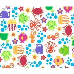 Underwater Friends Toss Multi on White FLANNEL