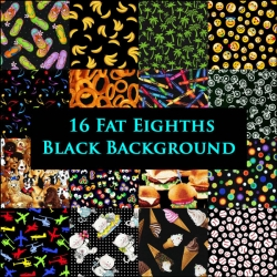 16 Fat Eighths Fabric Bundle on Black
