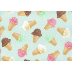 Ice Cream Cones on Pastel Mint