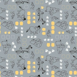 Winnie the Pooh Characters on Stone Gray