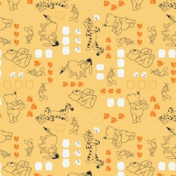 Winnie the Pooh Characters on Chamomile Yellow