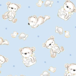 Bears and Buddies Flannel Bear Toss on Blue