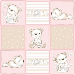 Bears and Buddies Flannel Patchwork Pink