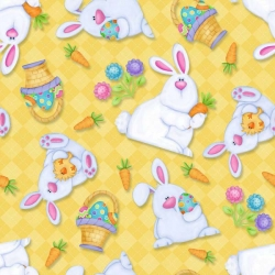 Hippity Hop Bunnies and Baskets Yellow