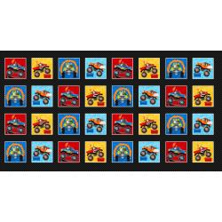Monster Trucks Blocks Fabric Panel