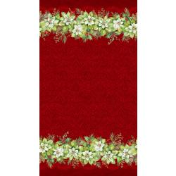 Deck the Halls Poinsettia Double Border Red