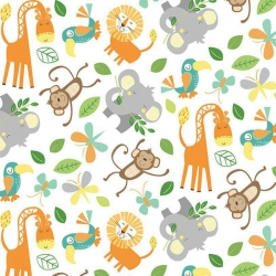 Jungle Friends Animals White