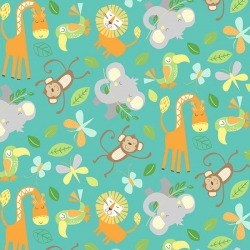Jungle Friends Animals Turquoise