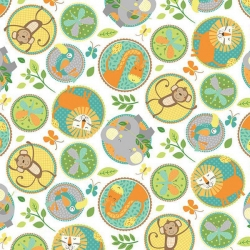 Jungle Friends Animal Circles White