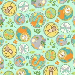 Jungle Friends Animal Circles Aqua