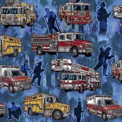 5 Alarm Firefighters & Fire Trucks Blue