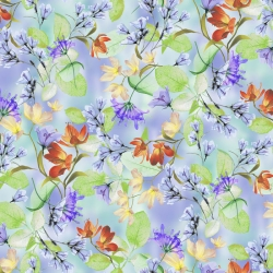 Belle Watercolor Floral on Periwinkle