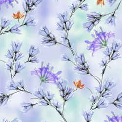 Belle Floral Branches on Periwinkle