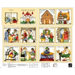 Snow White Vintage Story Books Fabric Panel 36 x 44 Cotton