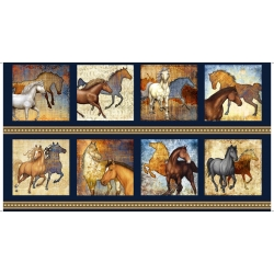 Mustang Sunset Large Blocks Horse Panel Navy