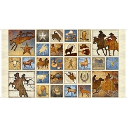 Mustang Sunset Mixed Blocks Horse Panel Cream
