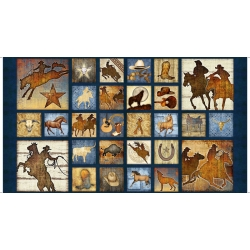 Mustang Sunset Mixed Blocks Horse Panel Navy