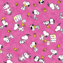 Peanuts Snoopy & Woodstock with Flags Pink