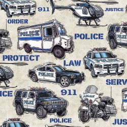 Protect and Serve Police Vehicles Cream