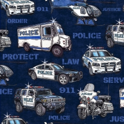 Protect and Serve Police Vehicles Navy