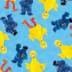 Sesame Street Big Bird & Cookie Monster on Blue
