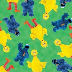 Sesame Street Big Bird & Cookie Monster on Green