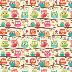 Happy Flappers Owls on Branches Cream