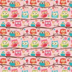 Happy Flappers Owls on Branches Pink