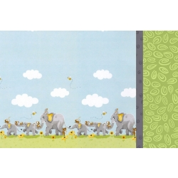 Susybee Elephants Double Border Pillowcase Kit