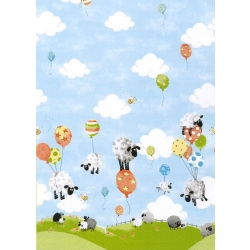 Susybee Lewe the Sheep Balloon Single Border Print