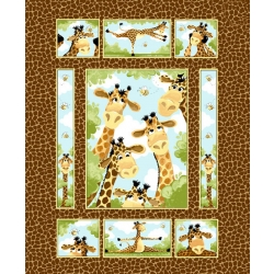 Susybee Zoe Giraffe Brown Quilt Panel