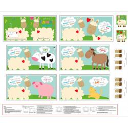 Huggable & Loveable Where's Llamas Mama? Book Panel by Sandra Magsamen for Studio E Fabrics. Adorable fabric book panel with extra fun bottom leg pieces for the cover and back. This 35 x 44 inch book panel is 100% cotton. It has 12 pages and measures abou