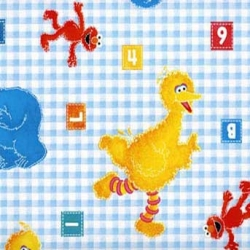 Sesame Street Toss on Blue Check FLANNEL