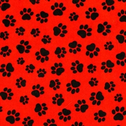 Too Cute Cats and Dogs Paw Prints Red