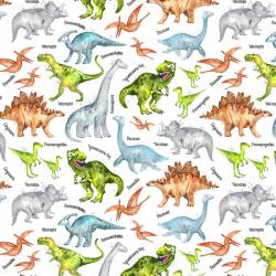 Dinos and Names on White Fabric
