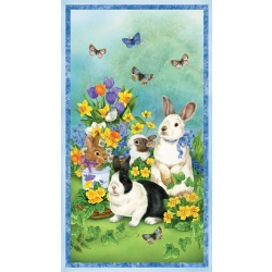 Garden Gathering Bunny Fabric Panel