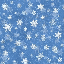 Quiet Bunny & Noisy Puppy Snowflakes Dark Blue