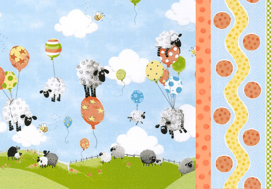 Susybee Sheep & Balloons Single Border Pillowcase Kit